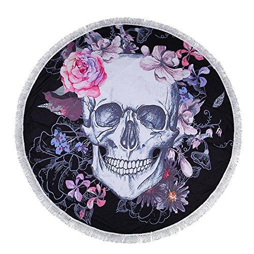 dreamitpossible - Serviette de Plage Ronde - Tête de Mort - Serviette de Plage - Tapisserie - Tapis de Yoga - Fleur de Haute qualité