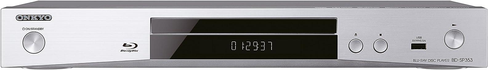 Onkyo BD-SP353 (S) Blu-Ray Player (1080p Upscaling, AVCHD/DivXPlus HD/MKV/flac/MP3, BD-Live) Silber