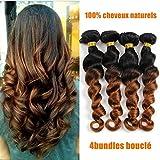 4 Tissage Bresilien En Lot Boucle Cheveux Naturel 1b/30 100% Virgin Hair Loose Wave...