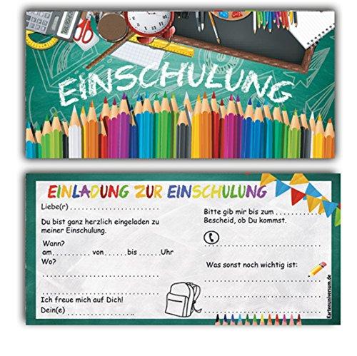 Kartenversand24 Einschulung Einladungskarten Ohne Umschläge (12er Set) Zum Schulanfang Einladungen für Kinder Zum Schulbeginn Junge Mädchen