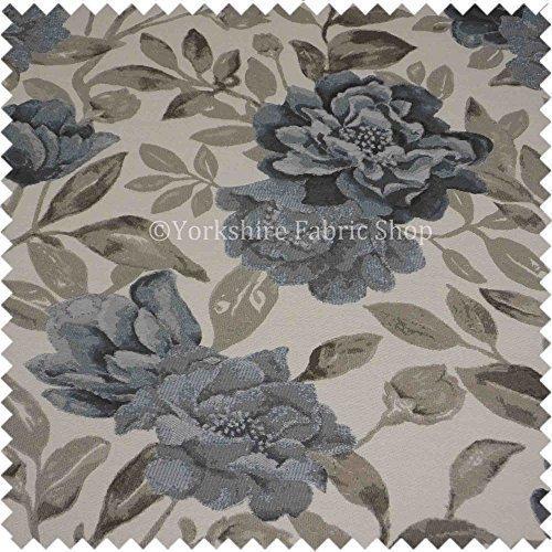 Yorkshire Fabric Shop Strukturierte modernen Muster Floral Design Weiß Braun Blau Chenille Möbelstoff Code 887 -