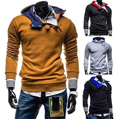 Minetom Uomo Hoodie Felpa Con Cappuccio Moda Colletto Obliquo Pullover Outerwear Tops Sportivo Casual Sweatshirt Primavera E Autunno Grigio chiaro