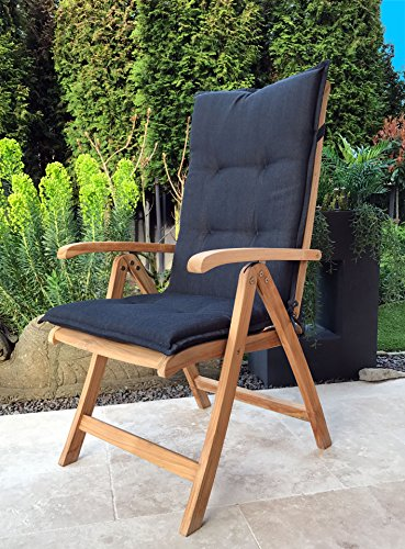Grasekamp Teak Sessel mit Kissen Anthrazit Gartenstühle Klappstuhl Gartenmöbel