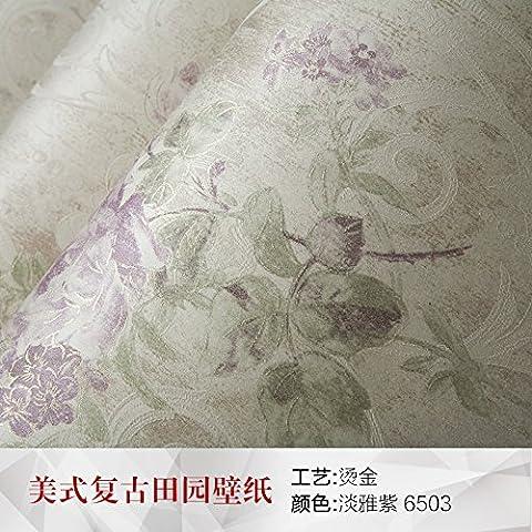 PENGFEI American idylle rurale de large non-tissé papier peint salon plat chaud mur papier peint chambre mauve , 6503