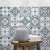72 (Piezas) Adhesivo para Azulejos 10x10 cm - PS00138 - Corfù - Adhesivo Decorativo para Azulejos para baño y Cocina - Stickers Azulejos - Collage de Azulejos