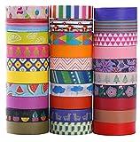 Ensemble de 30 rouleaux de ruban adhésif Washi - 10mm de large - Design floral coloré - Ruban adhésif décoratif pour bricolage, scrapbooking, emballage cadeau