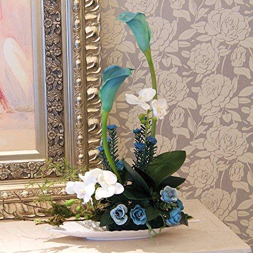LLPXCC Faux Fleurs Accueil création florale table à manger salle de séjour modernes simples de style européen fleur décorative Zantedeschia poursuite intérieur bleu grande hauteur largeur cm * *