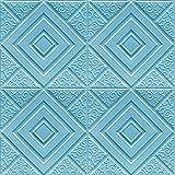 Allgemeine Lieferungen 3D Wandtafel Aufkleber Wohnzimmer 3D Ziegelwand Papier Kinderzimmer Heimtextilien 3D Wandtuch Selbstklebende Tapete-Blau_70 cm x 70 cm