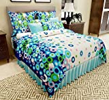 Home Candy 144 TC Floral Charming Cotton Double Bedsheet with 2 Pillow Covers - Blue