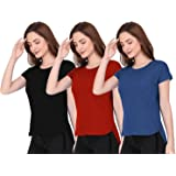 THE BLAZZE 1319 Women's Regular Stylish Up and Down T-Shirts for Women