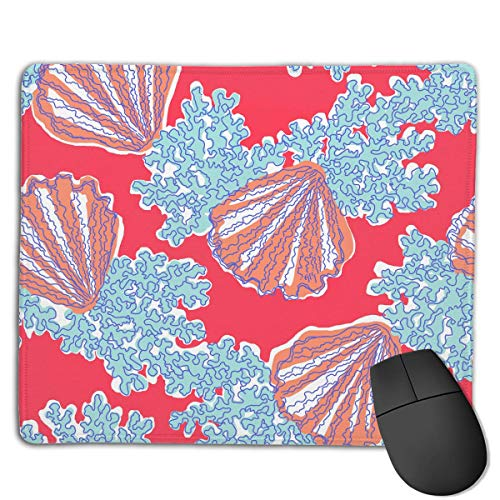 ASKSSD Mouse Pad Cute Corals and Scallops Rectangle Rubber Mousepad 8.66 X 7.09 Inch Gaming Mouse Pad with Black Lock Edge Scallop Edge Top