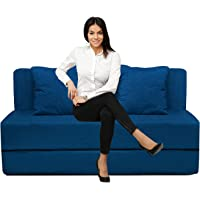 Urban Furnishing Foldable Sofa Cum Bed with Washable Zipper Cover, Blue, 3x6 (One Seater)