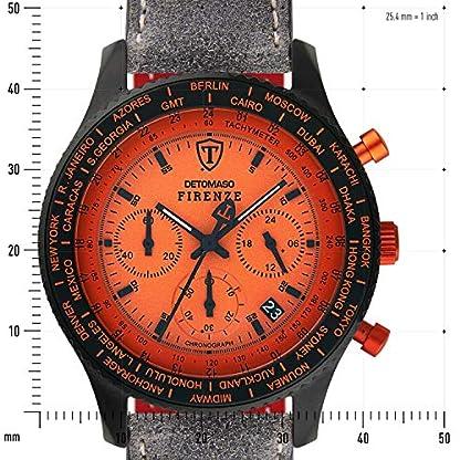 DETOMASO Firenze Reloj Caballero Cronógrafo Analógico Cuarzo Gris Correa de Piel Esfera Naranja SL1624C-OR-804
