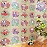 HLMYYO 3d wallpaper Umwelt niedlichen Eule Vogel rosa blau Tapete Kindergarten Kinderzimmer junge Mädchen wallpaper Kaufen Sie drei Get One Free (Color : C02503)