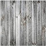 Wallario Sticker/Aufkleber für Kühlschrank/Geschirrspüler / Küchenschränke, Selbstklebende Folie - 60 x 60 cm, Motiv: Holz-Optik Textur Hellgraues Holz Paneele Dielen mit Asteinschlüssen