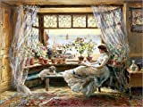 Poster 80 x 60 cm: Lesende am Fenster von Charles James Lewis/ARTOTHEK - Hochwertiger Kunstdruck, Neues Kunstposter