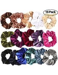16 Pack Velours Chouchous Cheveux Cravates Bobbles Doux Élastique Élastique Cheveux Bandes Femmes Bandeaux 16 Couleurs Cheveux Accessoires