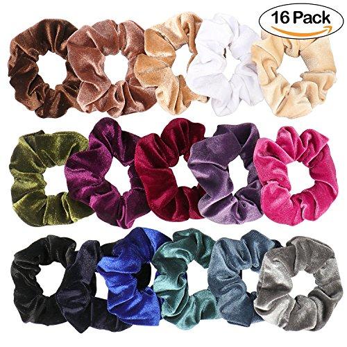 16 Pack Samt Scrunchies Haargummis Bobbles Weiche Elegante Elastische Haarbänder Frauen Stirnbänder 16 Farben Haarschmuck