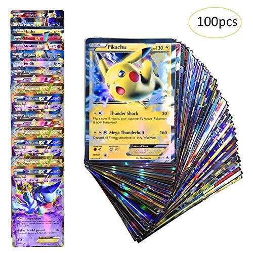 Anivia Jeux De Cartes 100 Pcs Pokemon Cartes Style TCG Holo EX Full Art 80 Cartes EX 20 Cartes GX