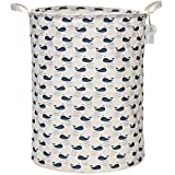 "Sea Team 21.7"" Oversize Linen & Cotton Fabric Folding Nursery Laundry Hamper Bucket Cylindric Burlap Canvas Storage Basket with Waterproof PE Coating Lining (Whale)"