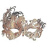 Superw Máscaras de Baile de graduación Enmascarado Brillante Máscara de Metal Máscara de Disfraces con pedrería Media mascarilla (Color : Oro)