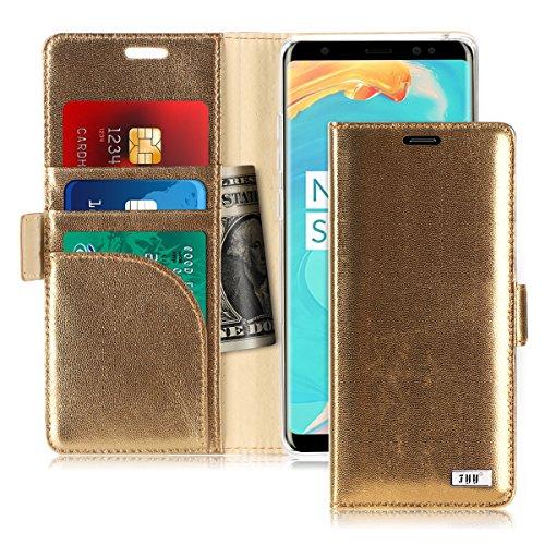 Note 8, Galaxy Note 8Hülle, fyy [RFID-blockierender Wallet] Premium Echt Leder 100% Handarbeit Wallet Case Kreditkarte Displayschutzfolie für Samsung Galaxy Note 8(2017), AE-Genuine-Gold