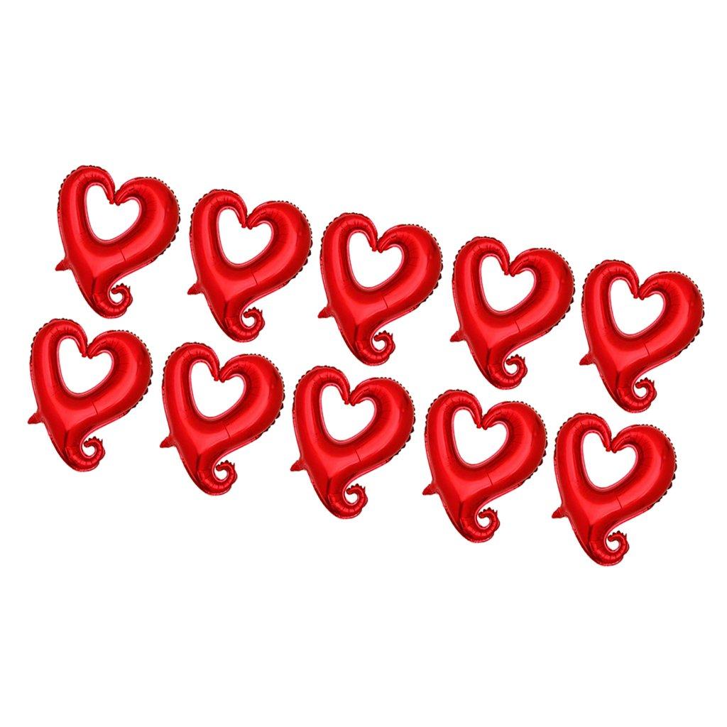 MagiDeal 10 Pz Amore Cuori Stagnola Palloncini Anniversario Di Matrimonio San Valentino 18  - Rosso