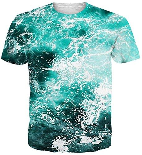 uideazone Teens Water Tshirts 3D Print Kurzarm Tee Shirts Tops Blau S T-shirts Für Teens