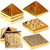 Salvus App SOLUTIONS Golden Plated Metal Vastu Pyramid Yantra-For car dashboard home decor gifts antique items home, decor accessories - MINI size 3 x 3 (don't expect big size)