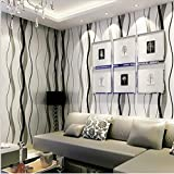 Ayzr 3D-Silber Grau Schwarz-Weiße Tapeten Schlafzimmer Wohnzimmer Moderne Streifen Tapete, Schwarz