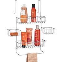 mDesign panier de douche à suspendre – rangement de douche pratique sans perçage – étagère de douche en métal à quatre…
