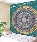 Unimall Mandala de Bohemia Tapices India Decoración del Tapiz de Pared Decorativo, ideal para usar como playa pareo, decorar una pared, sábana para meditar en yoga 150x130 cm