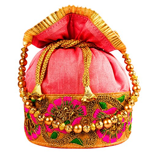 Bombay Haat Ethnic Rajasthani Potli Bag/Bridal Clutch/Bridal Purse for Party/Wedding/Wedding Gift (Majenta)