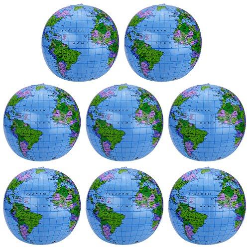 8 Packung Aufblasbarer Erdkugel Inflatable Globe PVC Weltkugel Erde Wasserball 8 Set für den Strand, Spielt oder Unterrichtet, 16 Zoll