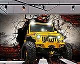 Yosot Benutzerdefinierte Wandbild Retro Auto Broken Wall 3D-Persönlichkeit Tapeten Ktv Hintergrundbild 3D Tapeten-140Cmx100Cm