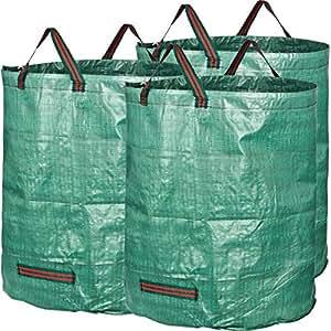 GardenMate 3X 272l Borse da Giardino Sacchi per i rifiuti in Robusto Tessuto in Polipropilene (PP) 150gsm