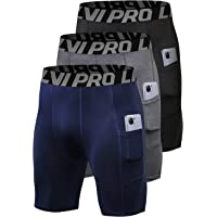 LNJLVI Men's 3 Pack Compression Shorts with Pockets Base Layer Underwear for Running, Workout, Training