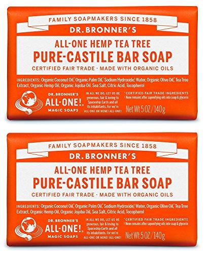 Dr. Bronner Bio pur Kastilien Teebaum Seife, 5 oz - 2 Bars (Kastilien Teebaum Seife)