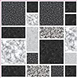 PACK OF 10 BLACK MULTI MARBLE STONE EFFECT Mosaic tile transfers STICKERS - , peel and stick transform your bathroom or kitchen VERY REALISTIC