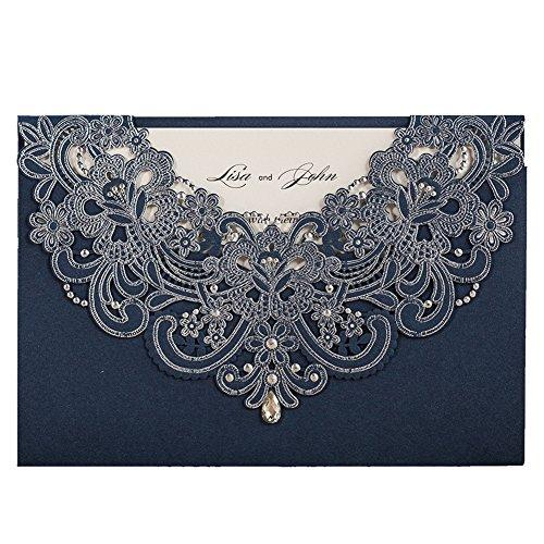 WISHMADE 1 Marineblau Laser Geschnitte Hochzeiteinladungskrarten Set, Individueller Rhinestone-Entwurf Einladungskarten für Braut Dusche Geburtstag Abendessen Abschlussfeier Quinceanera mit Umschlägen