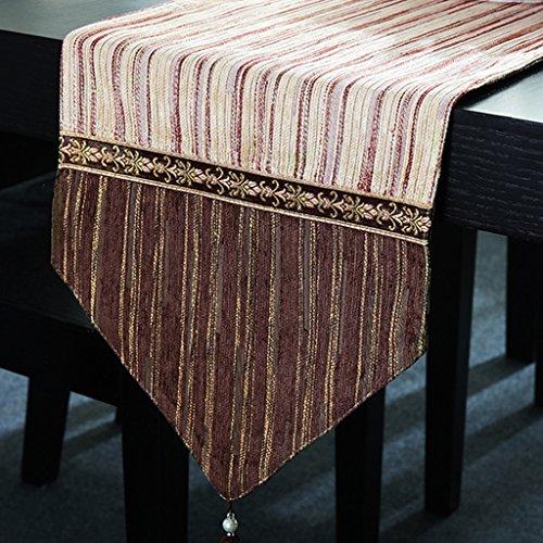 YXX- Européenne Style Stripe Table Runner Américain Bar À Manger Café Table à Thé Shoebox TV Cabinet 100% Polyester Nappe Couverture Serviette ( Couleur : Beige , taille : 30*120cm )