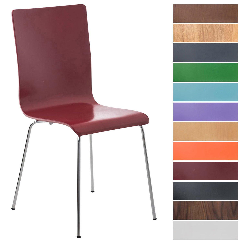 CLP Wartezimmerstuhl Pepe mit ergonomisch geformten Holzsitz und Metallgestell I Konferenzstuhl I erhältlich Orange 1