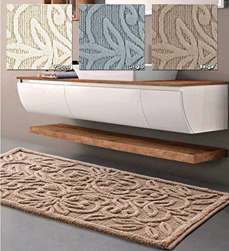 Centesimo web shop tappeto bagno in 2 misure e 3 colori 100% cotone jacquard antiscivolo scendidoccia rilievo - - 60x100 cm beige