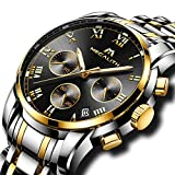 Mens Stainless Steel Chronograph Watches Men Luxury Waterproof Luminous Date Calendar Analogue Counts Watch Gents Sports Business Casual Dress Wrist Watch with Gold Case Roman Numerals Black Dial