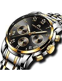 Relojes Hombre Acero Inoxidable Reloj de Pulsera de Lujo Moda Cronometro Impermeable Fecha Calendario Analogicos Cuarzo Reloj Militar Deportivo Luminoso Negocio Casual con Números Romanos Dial Negro