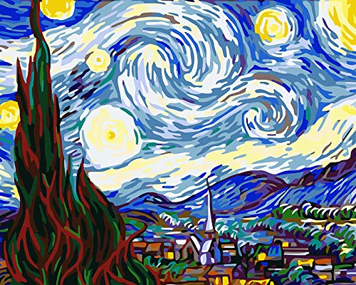 SiJOO Le Migliori Foto Pittura Digitale Ad Olio Fai-da-Te Dipinta dai Numeri Natale Y 40X50Cm Van Gogh Notte Stellata