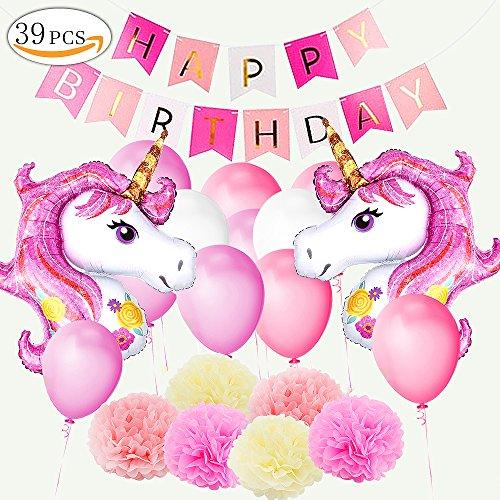 Yansion Einhorn Party Dekoration Lieferungen, Geburtstag Set mit 1 alles Gute zum Geburtstag Banner,...