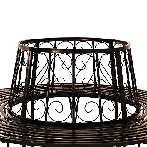 Baumbank 360° Metall, Ø 160cm, pulverbeschichtet, geschwungene Beine Gartenbank Rundbank - 2