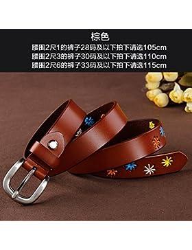 SILIU*Correa de cuero étnicas salvajes cinturón de cuero de la mujer La Sra. amplia decoración floral jeans cintura...