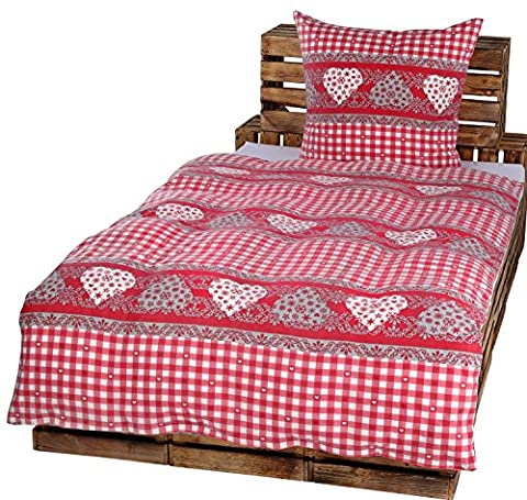 2tlg Winter Bettwäsche Set Fleece Microfaser Landhaus Bauernhaus Karo Herz 135 x 200 cm + 80 cm x 80 cm NEU Weiß Rot Bordeaux Simone